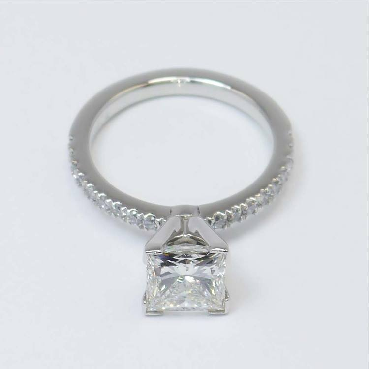 Princess Diamond Petite Pave Ring (2 Carat) angle 3