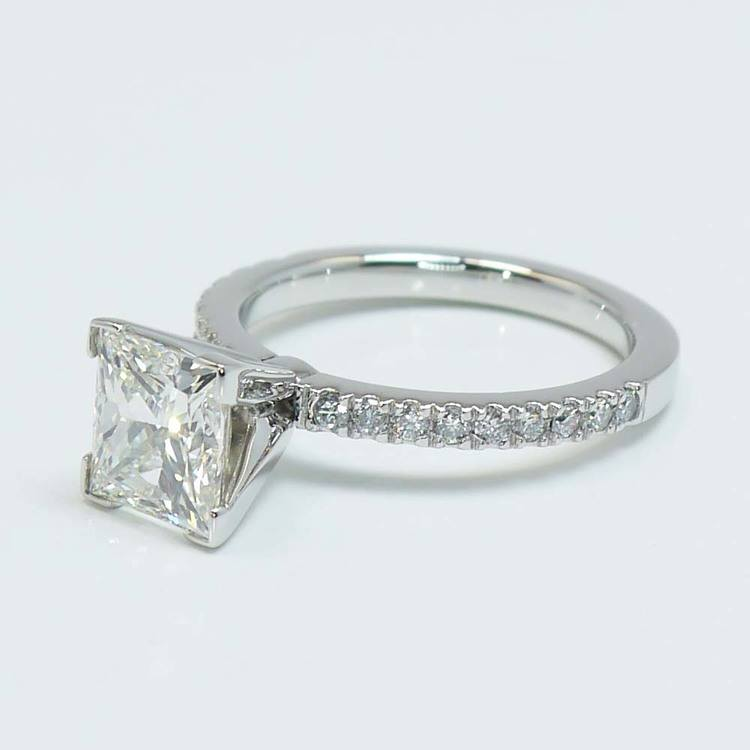 Princess Diamond Petite Pave Ring (2 Carat) angle 2