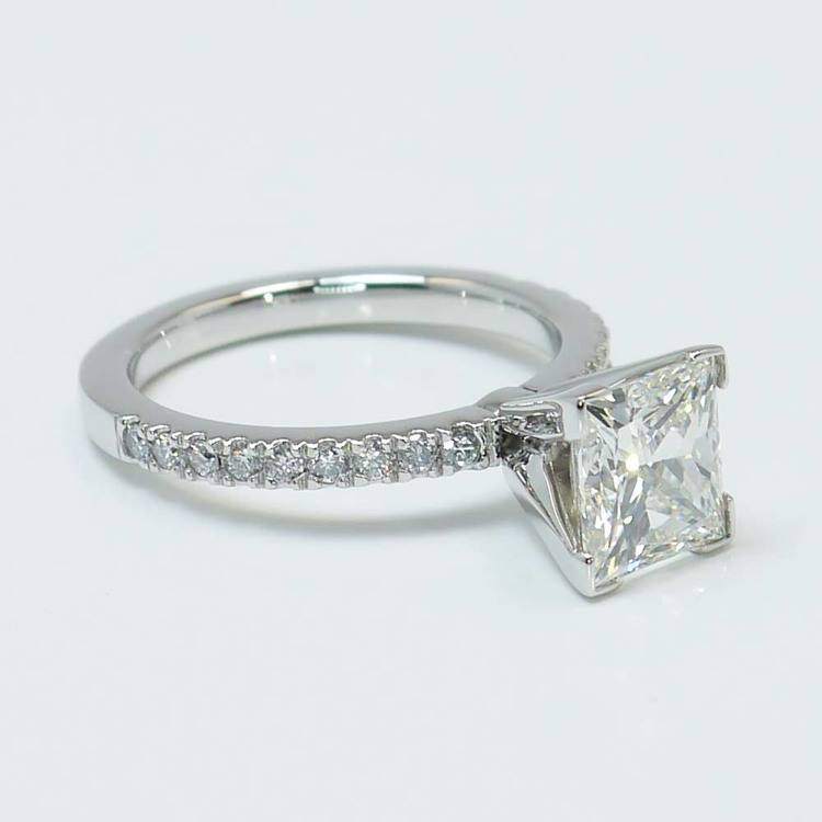 Princess Diamond Petite Pave Ring (2 Carat) angle 4