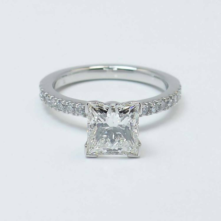 Princess Diamond Petite Pave Ring (2 Carat)