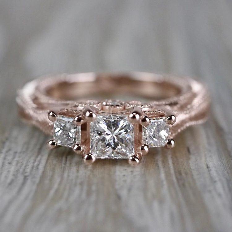 Princess Cut Vintage Milgrain Three-Stone Diamond Engagement Ring