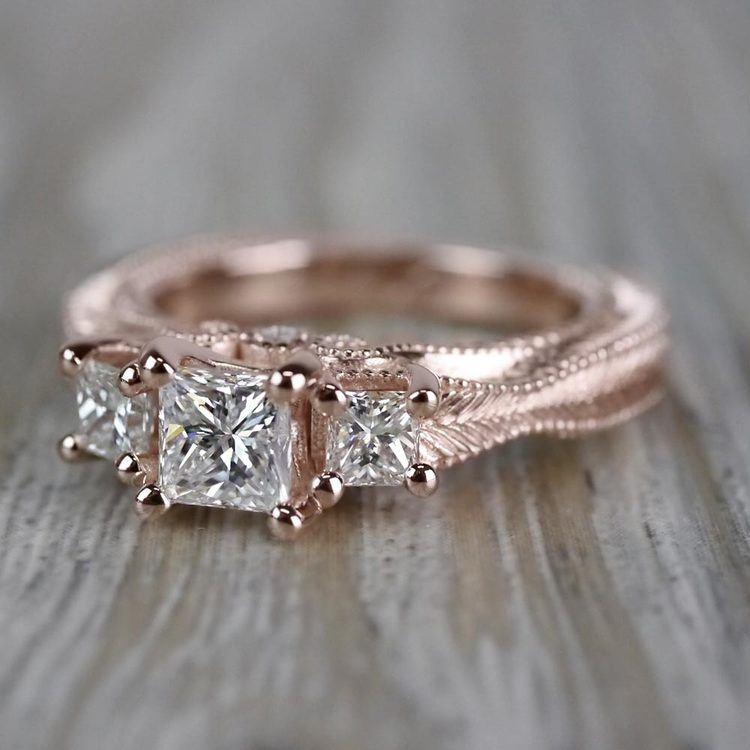 Princess Cut Vintage Milgrain Three-Stone Diamond Engagement Ring angle 2