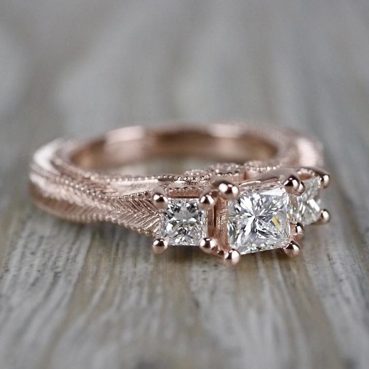 Princess Cut Vintage Milgrain Three-Stone Diamond Engagement Ring angle 3