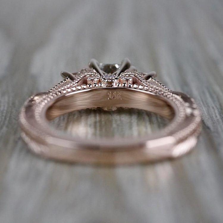 Princess Cut Vintage Milgrain Three-Stone Diamond Engagement Ring angle 4