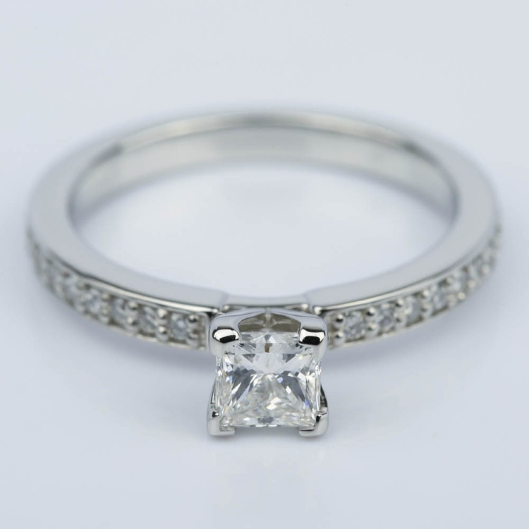 Princess Diamond Engagement Ring with Pave Band (0.54 ct.)