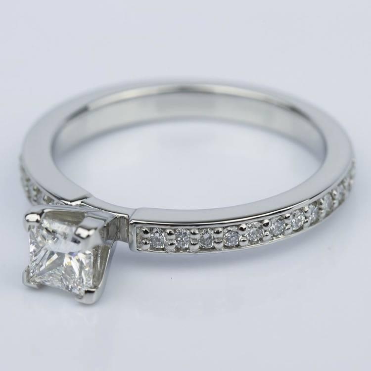 Princess Diamond Engagement Ring with Pave Band (0.54 ct.) angle 2