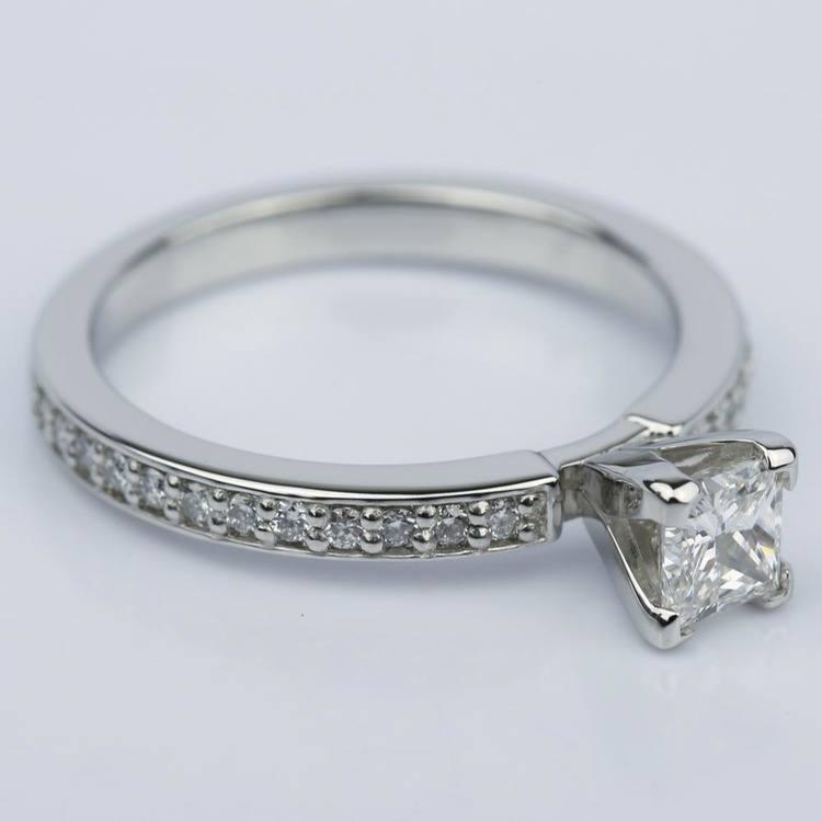 Princess Diamond Engagement Ring with Pave Band (0.54 ct.) angle 3