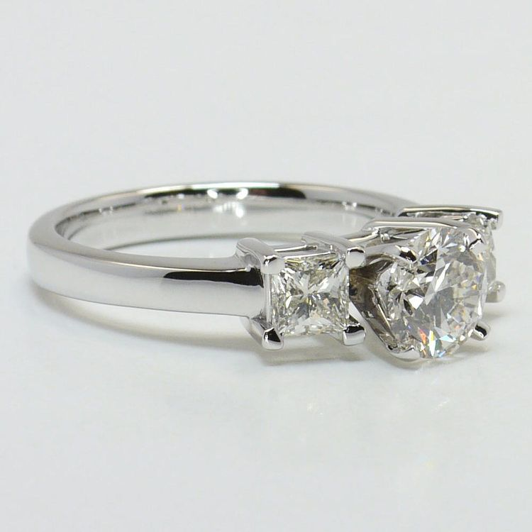 0.90 Carat Round & Princess Diamond Engagement Ring angle 3
