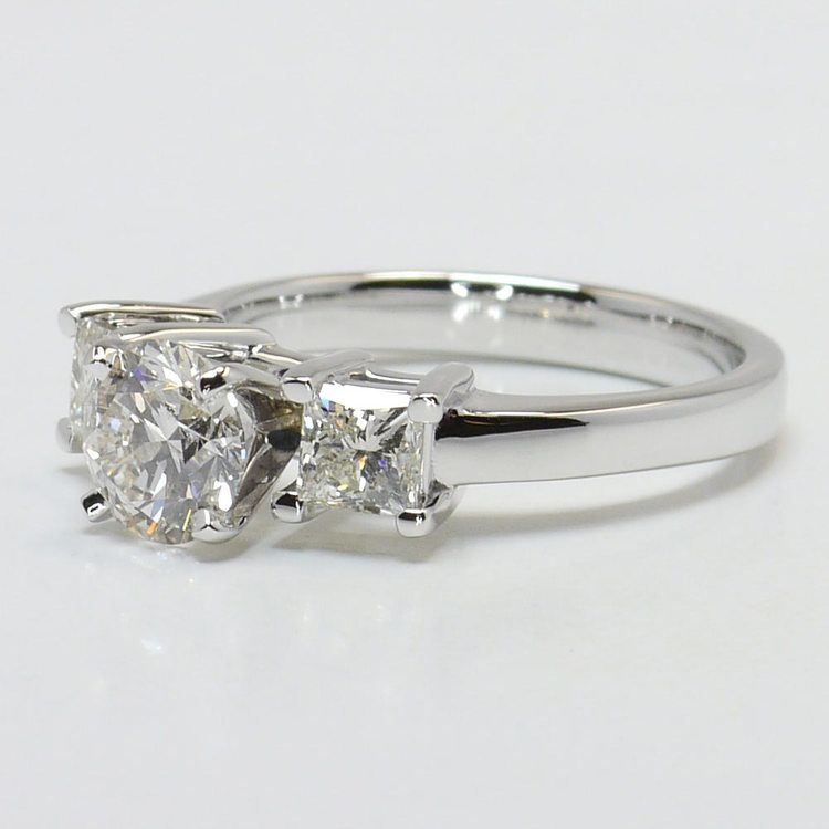 0.90 Carat Round & Princess Diamond Engagement Ring angle 2
