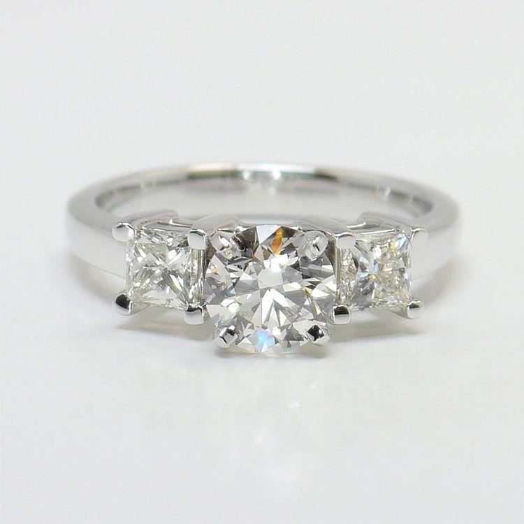 0.90 Carat Round & Princess Diamond Engagement Ring