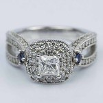 Princess Diamond and Sapphire Double Halo Engagement Ring - small