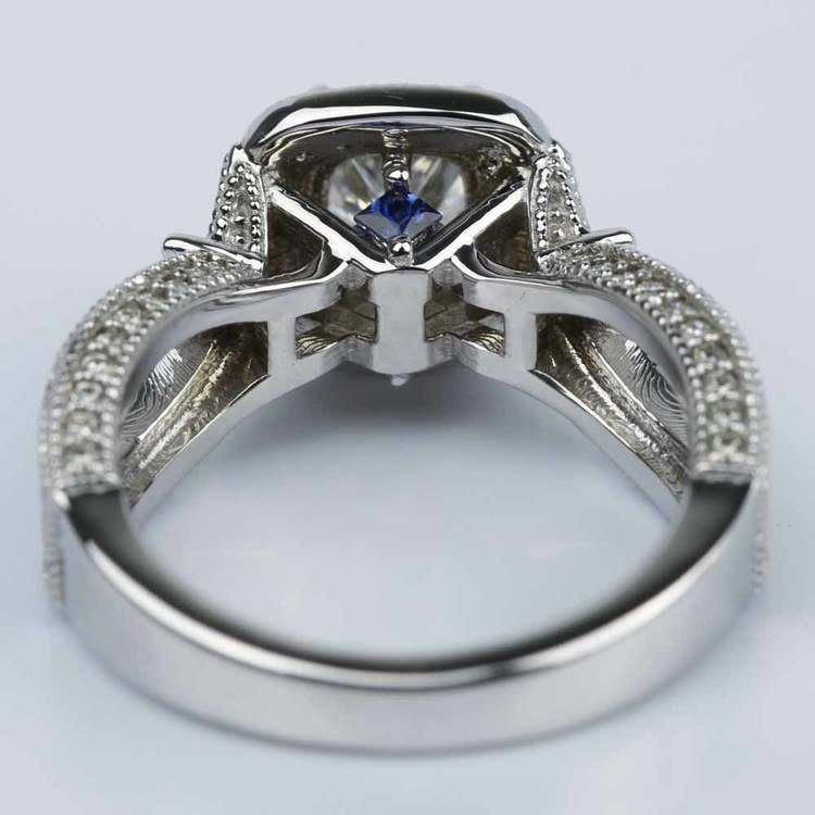 Princess Diamond and Sapphire Double Halo Engagement Ring angle 4