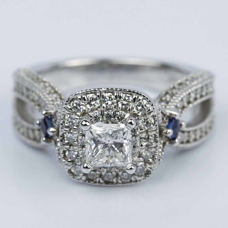 Princess Diamond and Sapphire Double Halo Engagement Ring