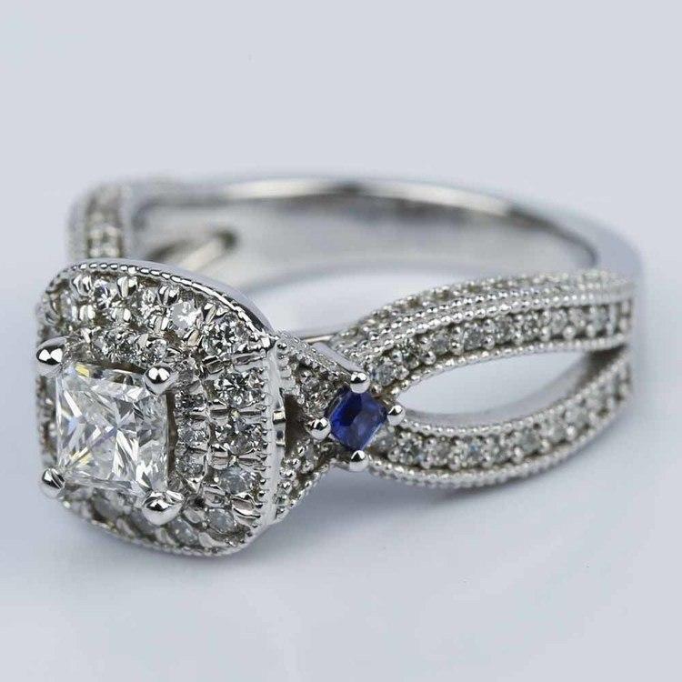 Princess Diamond and Sapphire Double Halo Engagement Ring angle 2