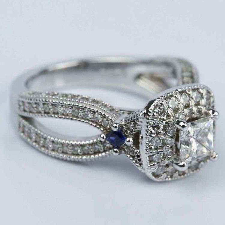 Princess Diamond and Sapphire Double Halo Engagement Ring angle 3