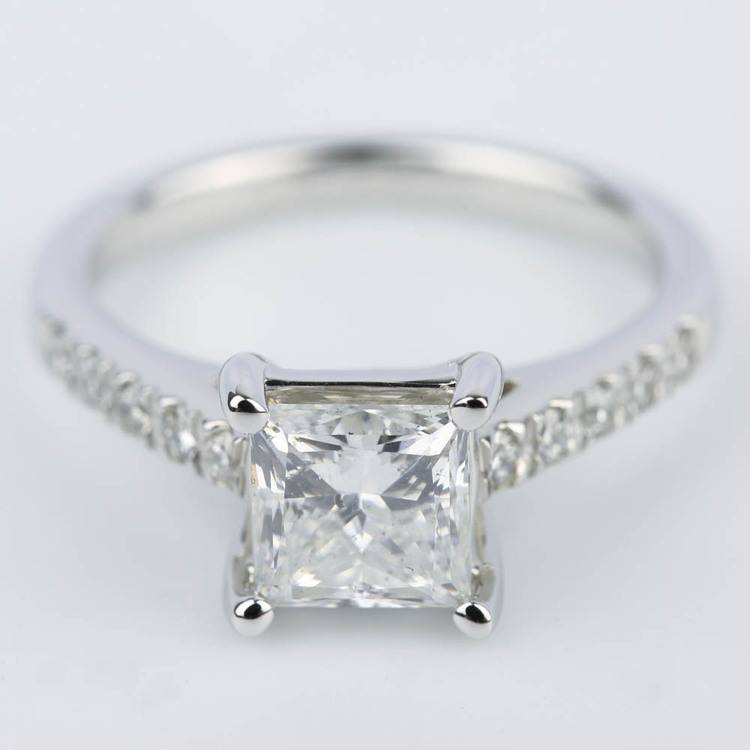Princess Diamond Trellis Engagement Ring in White Gold (1.80 ct.)