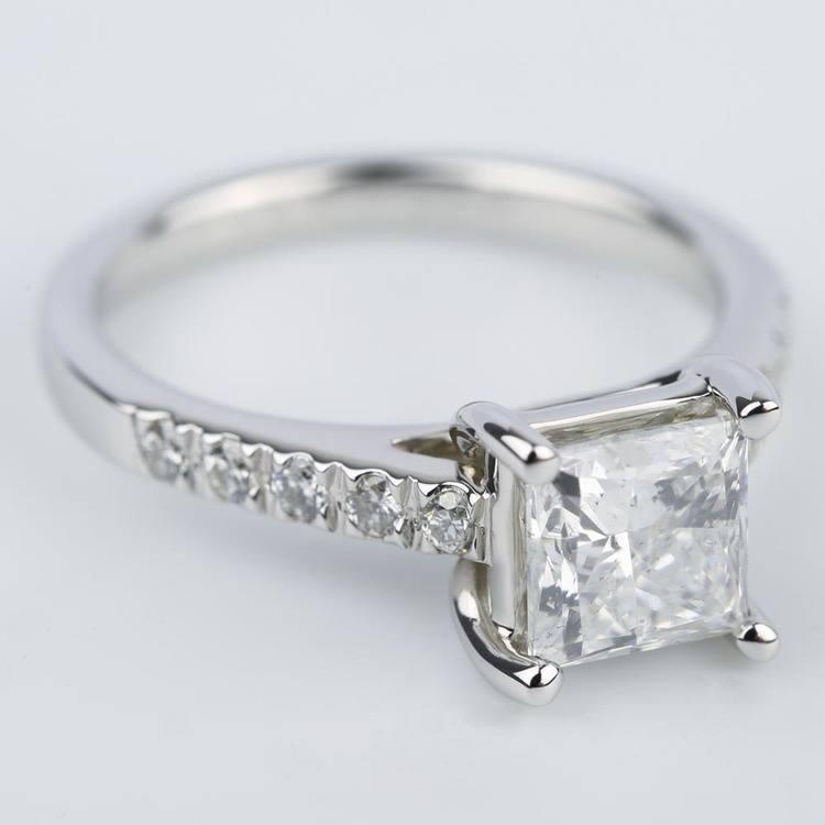Princess Diamond Trellis Engagement Ring in White Gold (1.80 ct.) angle 3