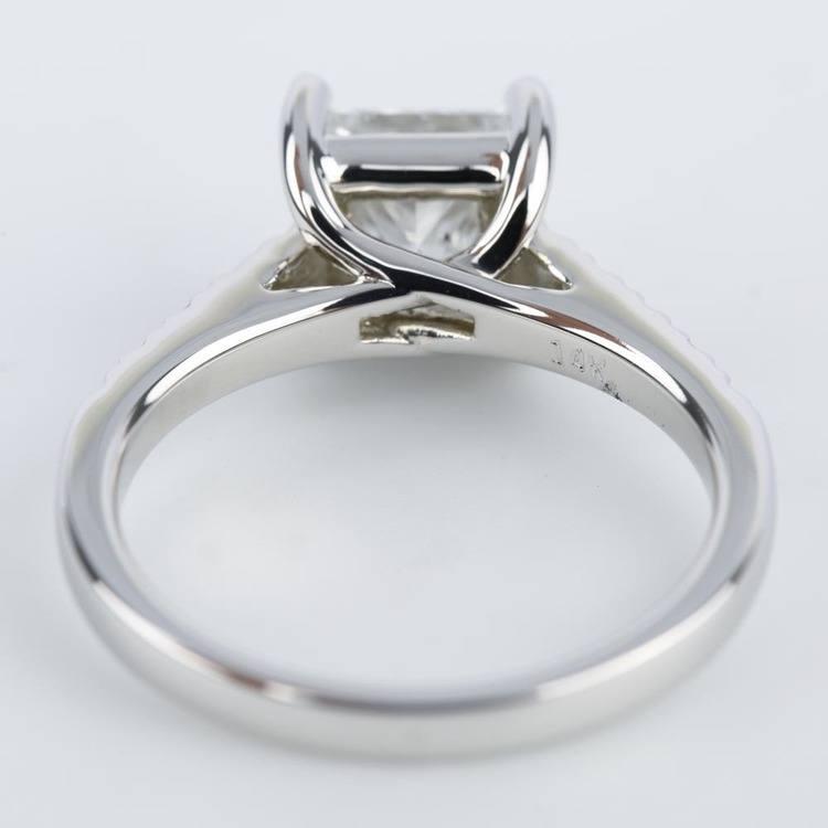 Princess Diamond Trellis Engagement Ring in White Gold (1.80 ct.) angle 4