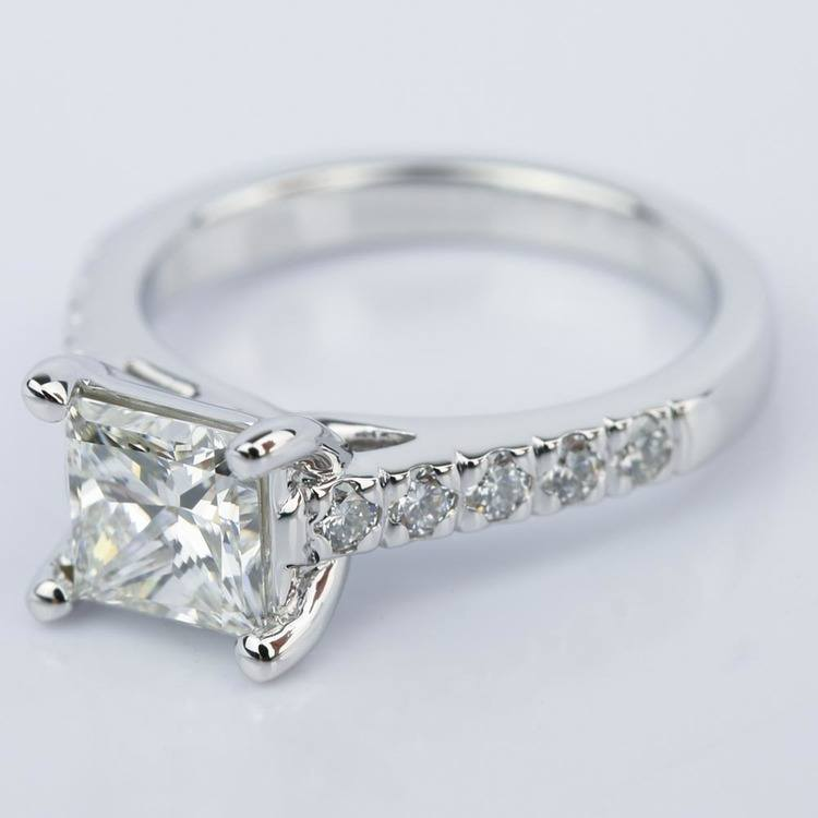 Princess Diamond Trellis Engagement Ring in White Gold angle 2