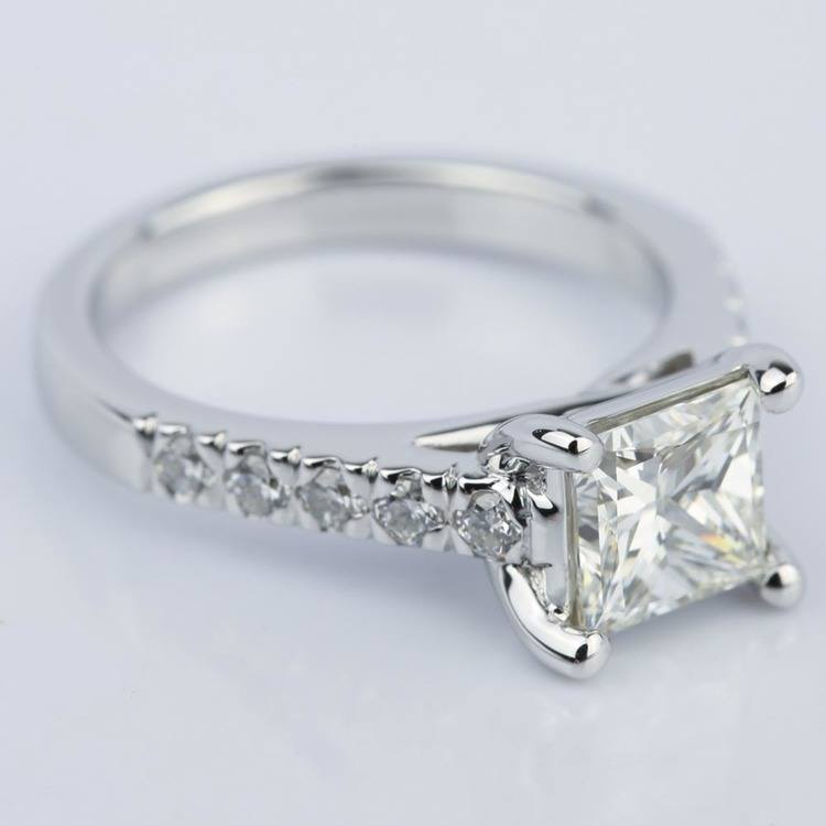Princess Diamond Trellis Engagement Ring in White Gold angle 3