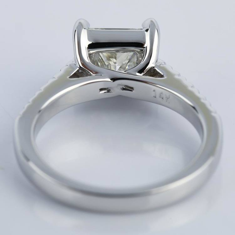 Princess Diamond Trellis Engagement Ring in White Gold angle 4