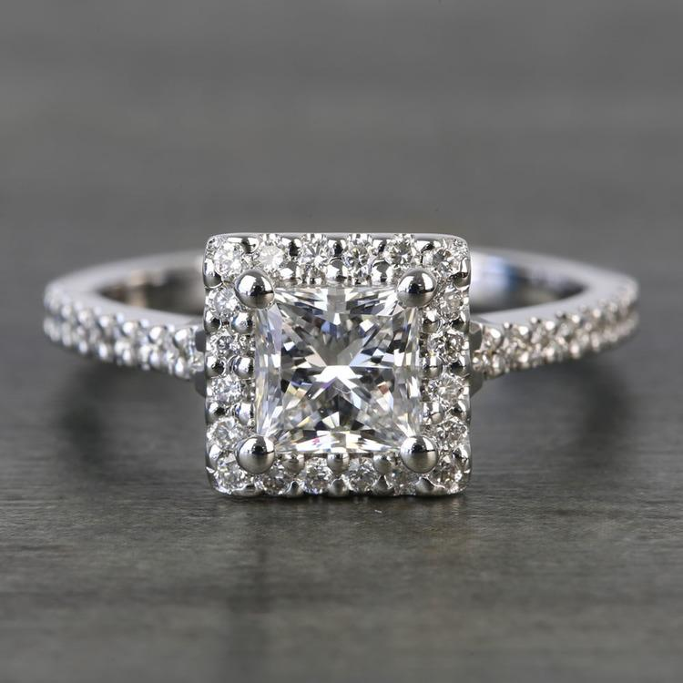 Princess Halo 1.20 Carat Diamond Engagement Ring