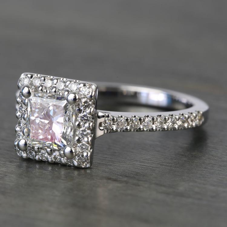 Princess Halo 1.20 Carat Diamond Engagement Ring angle 2