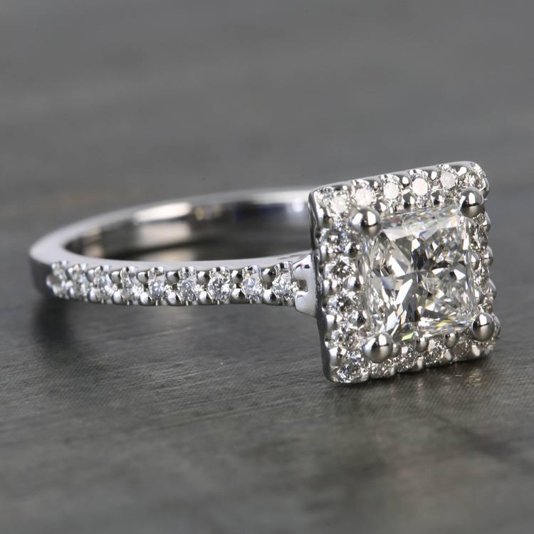 Princess Halo 1.20 Carat Diamond Engagement Ring angle 3