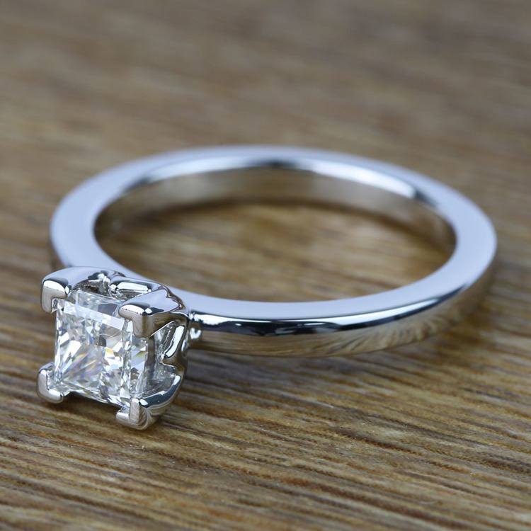 Princess Solitaire Diamond Engagement Ring (0.80 Carat) angle 2