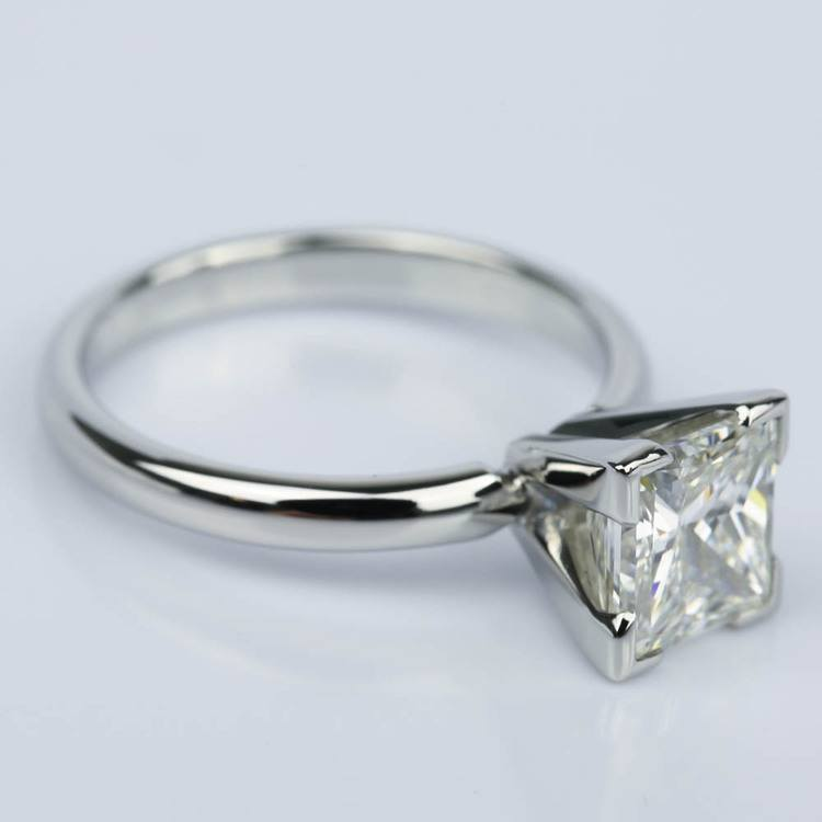 Princess Solitaire Diamond Engagement Ring in Platinum (2 Carat) angle 3