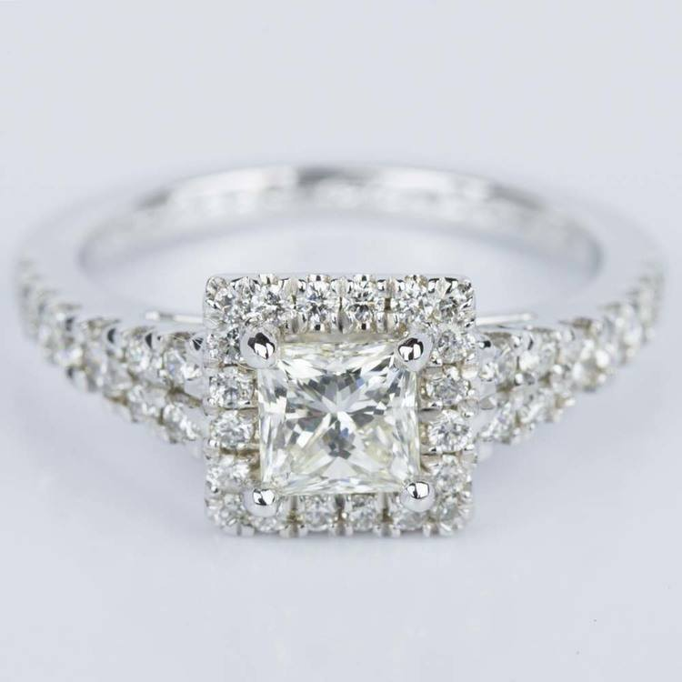 Princess Split Shank Halo Diamond Engagement Ring (0.75 ct.)