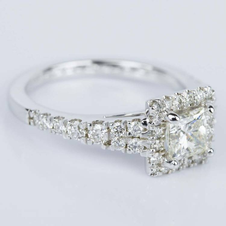 Princess Split Shank Halo Diamond Engagement Ring (0.75 ct.) angle 3