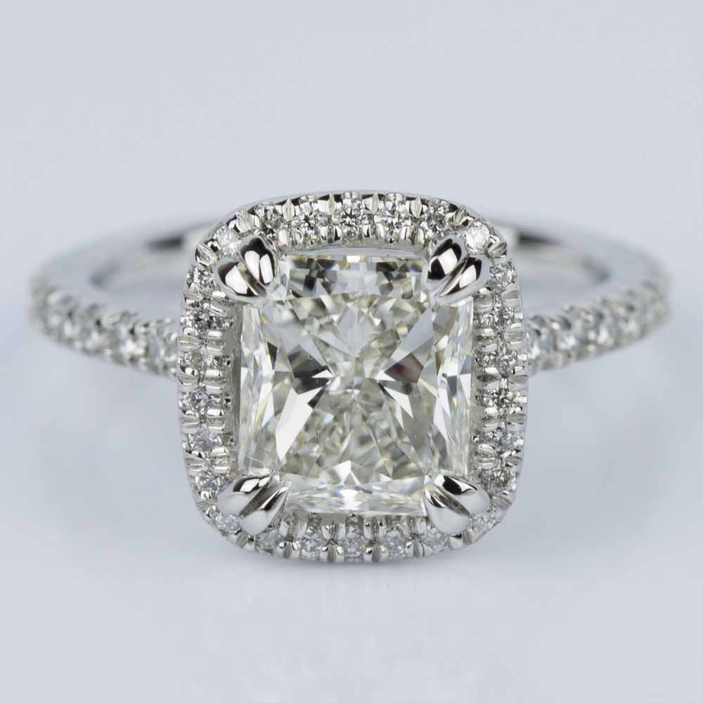 Radiant Halo Diamond Engagement Ring In Platinum (2.25 Ct