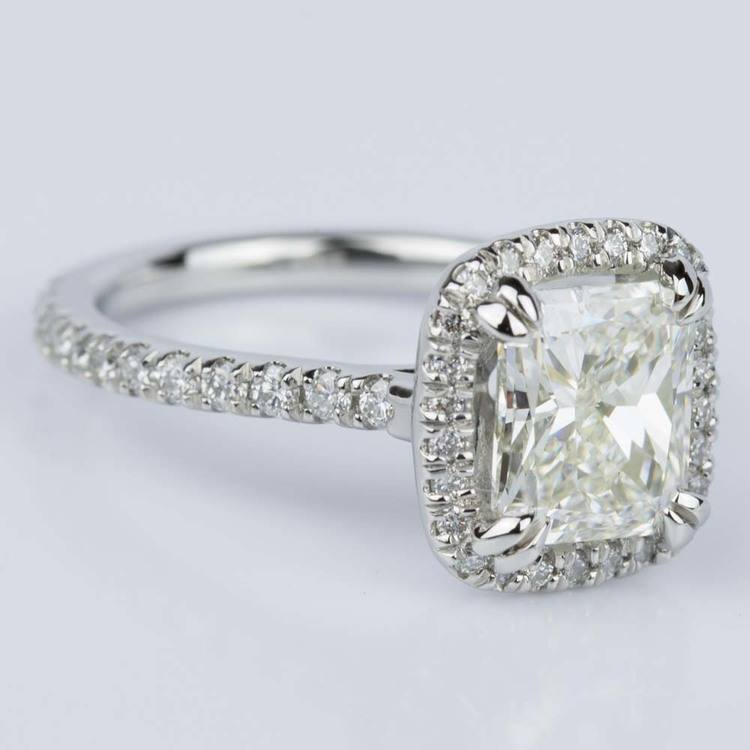Radiant Halo Diamond Engagement Ring in Platinum (2.25 ct.) angle 3