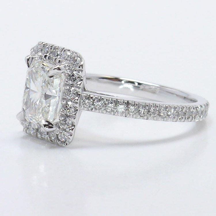1.91 Carat Radiant Pave Halo Diamond Engagement Ring angle 2