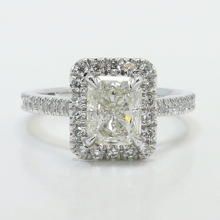 1.91 Carat Radiant Pave Halo Diamond Engagement Ring