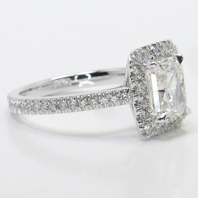 1.91 Carat Radiant Pave Halo Diamond Engagement Ring angle 3