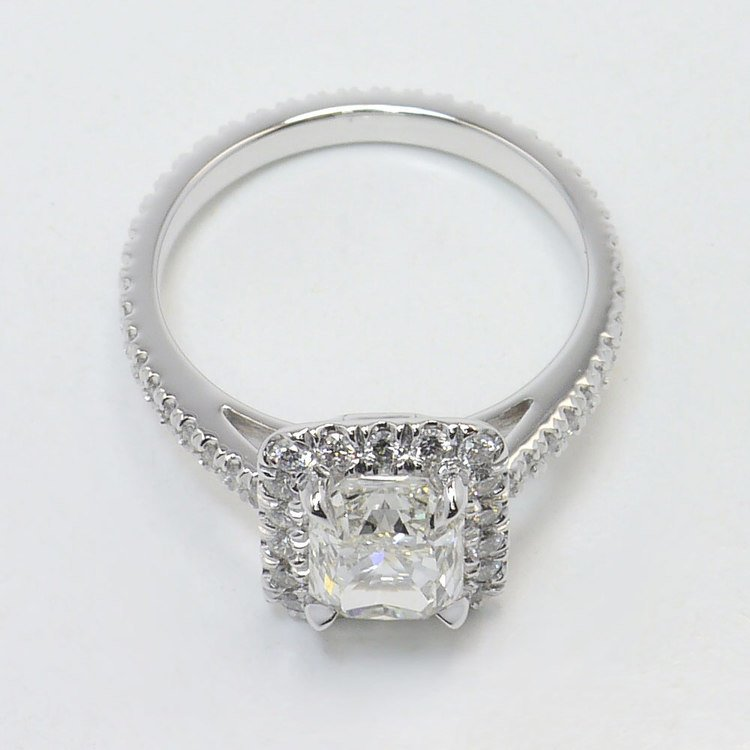 1.91 Carat Radiant Pave Halo Diamond Engagement Ring angle 4