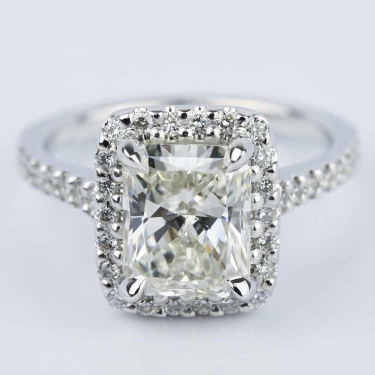 Radiant Shape Diamond Halo Engagement Ring 2 50 Carat