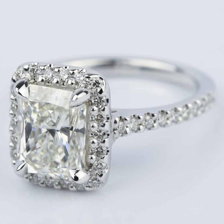 Radiant Shape Diamond Halo Engagement Ring (2.50 Carat) angle 2