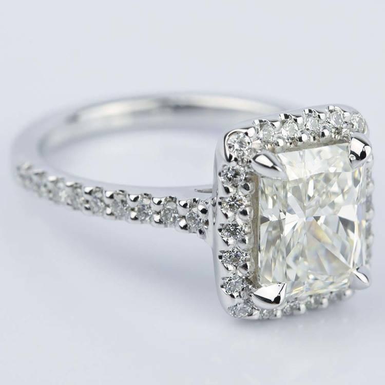 Radiant Shape Diamond Halo Engagement Ring (2.50 Carat) angle 3