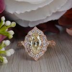 Radiating Vintage Oval Diamond Engagement Ring In Rose Gold - small angle 5