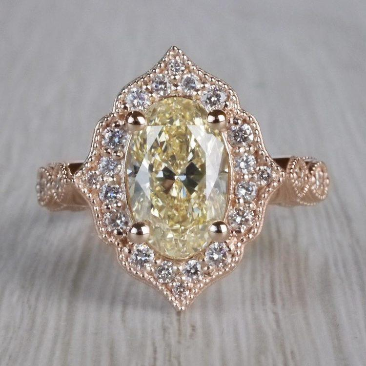 Radiating Vintage Oval Diamond Engagement Ring In Rose Gold