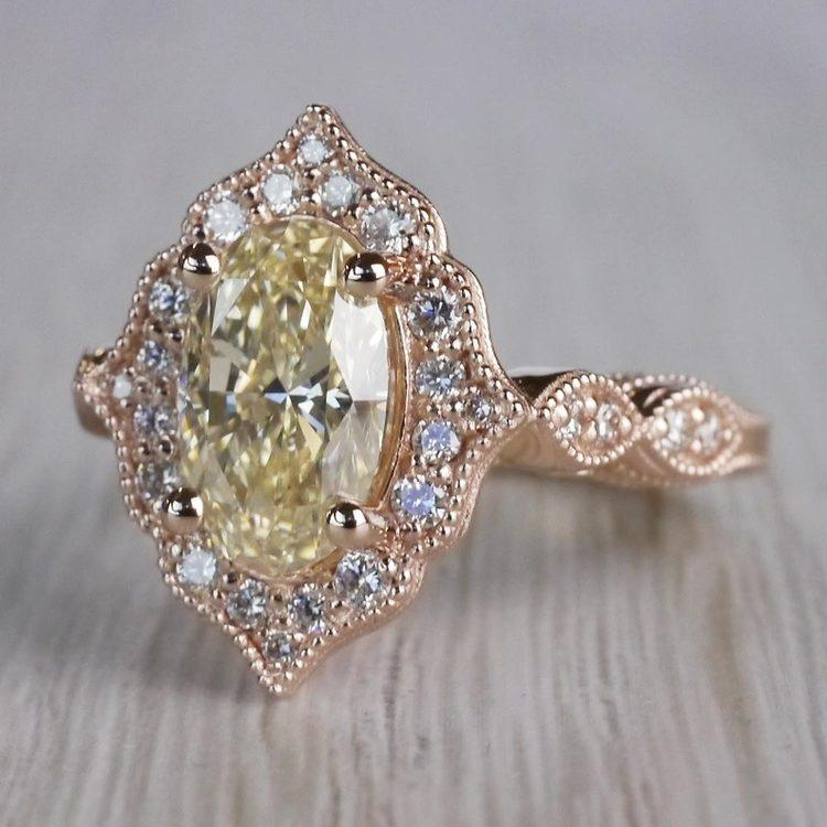 Radiating Vintage Oval Diamond Engagement Ring In Rose Gold angle 2