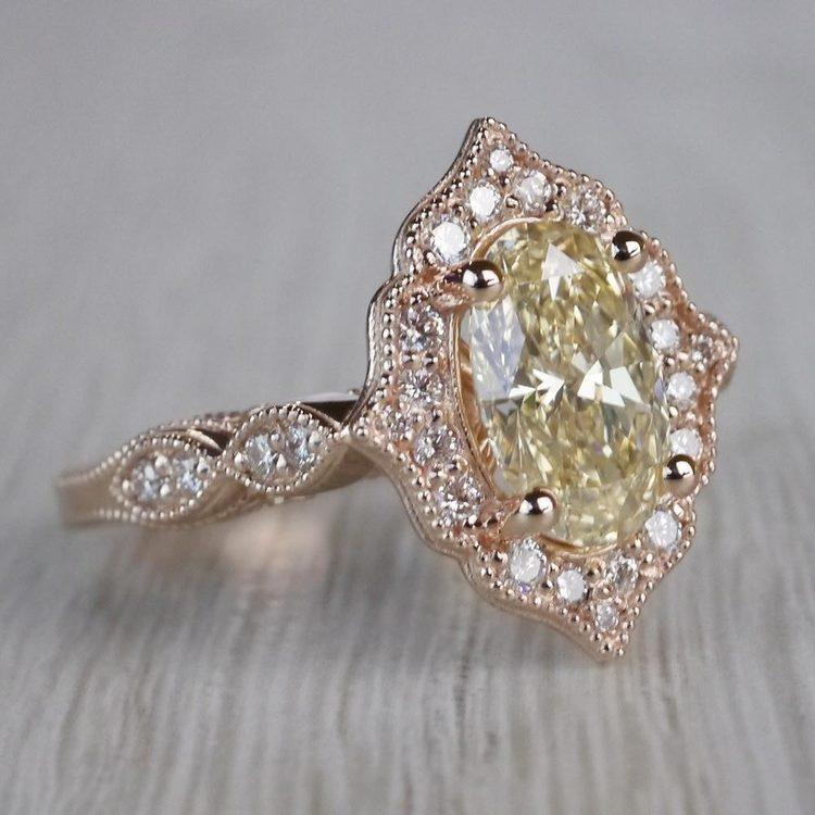 Radiating Vintage Oval Diamond Engagement Ring In Rose Gold angle 3