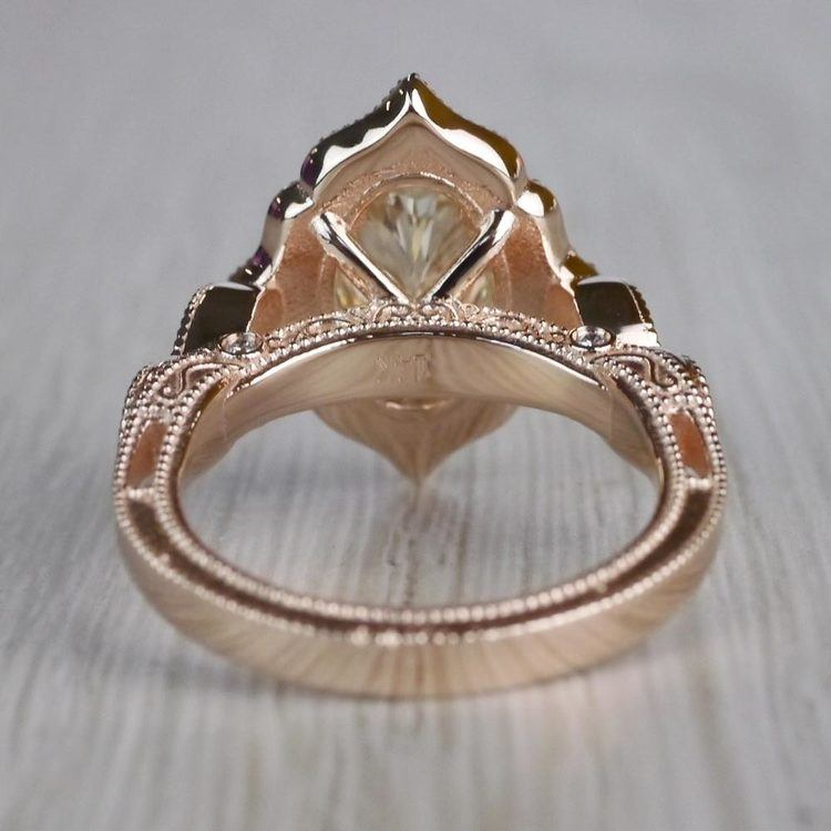 Radiating Vintage Oval Diamond Engagement Ring In Rose Gold angle 4
