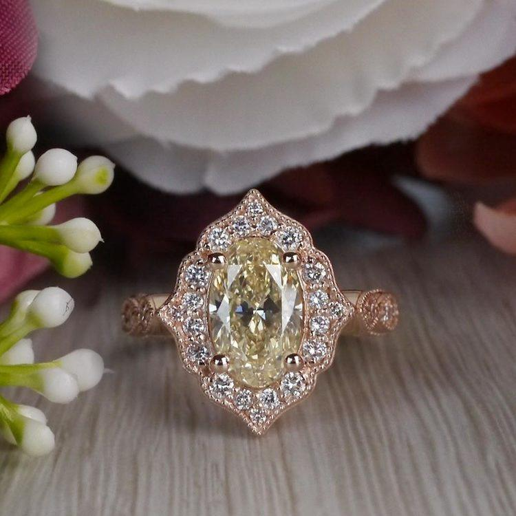 Radiating Vintage Oval Diamond Engagement Ring In Rose Gold angle 5