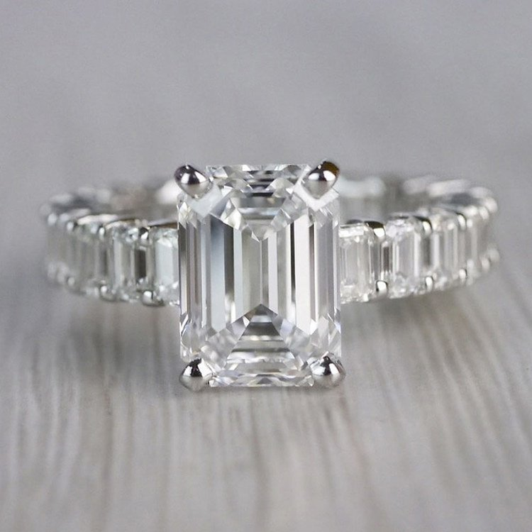 Excellent Eternity Inspired Emerald Cut Diamond Ring