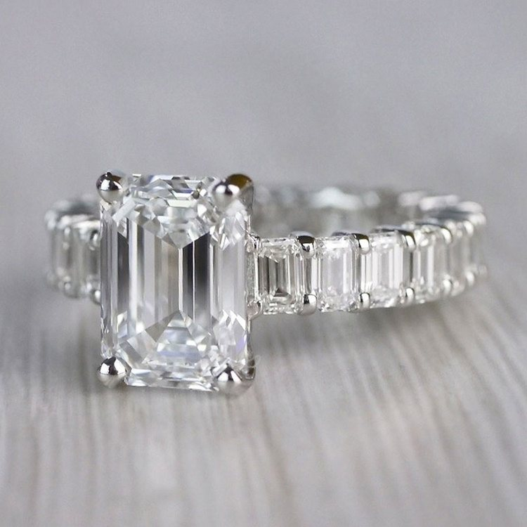 Excellent Eternity Inspired Emerald Cut Diamond Ring  angle 2