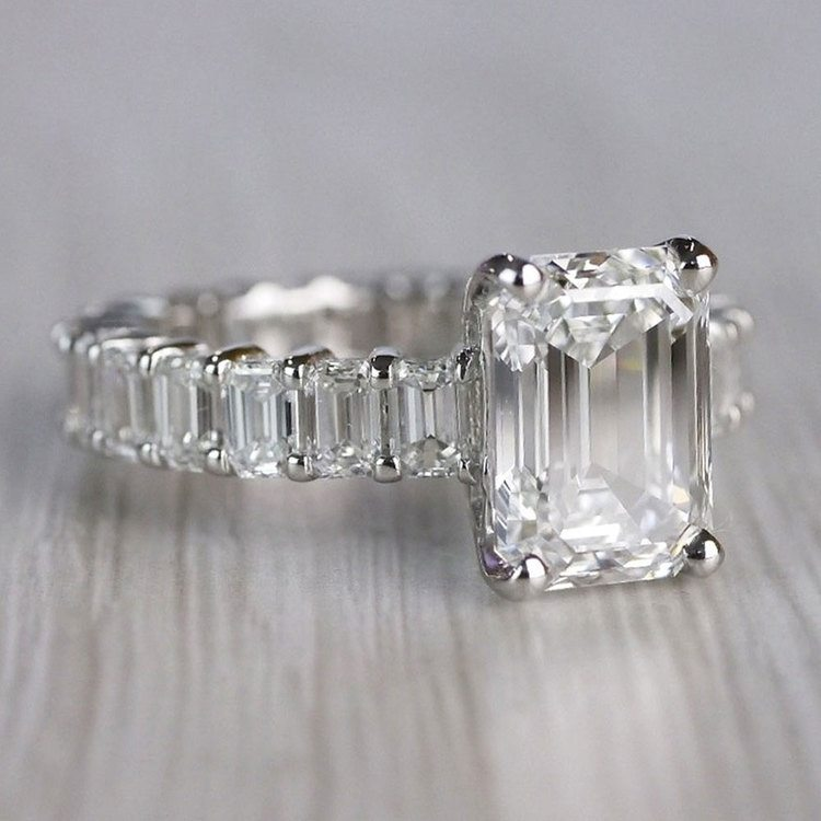 Excellent Eternity Inspired Emerald Cut Diamond Ring  angle 3